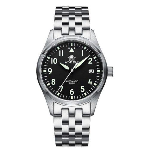 Addiesdive H2 Fliegeruhr Schwarz Edelstahl Armband