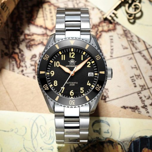 Addiesdive H9, schwarz, Edelstahl Armband