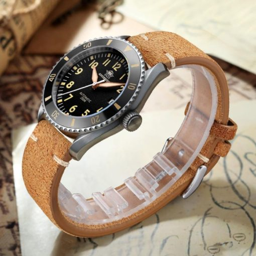Addiesdive H9, schwarz, Leder Armband