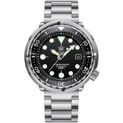 Steeldive 1975 Taucheruhr Tuna, Schwarz, 3-Link Armband