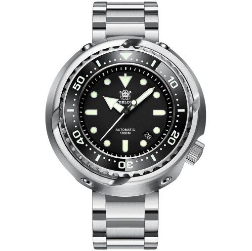 Steeldive 1978 Taucheruhr Schwarz 3-Link Armband