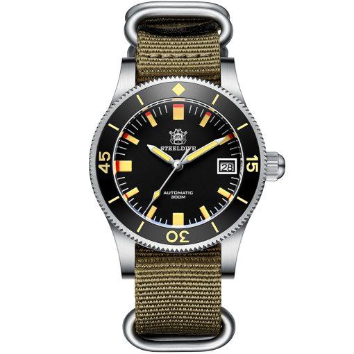 Steeldive 1952T Schwarz Nylon Armband