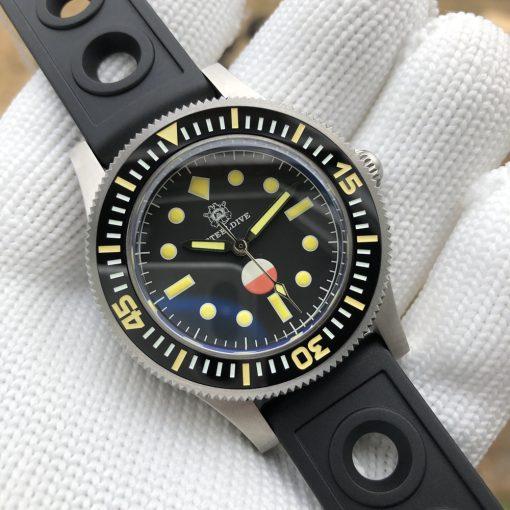 Steeldive 1952T Schwarz Rubber Armband