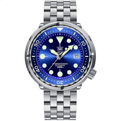 Steeldive 1975 Taucheruhr Tuna, Blau, 5-Link Armband